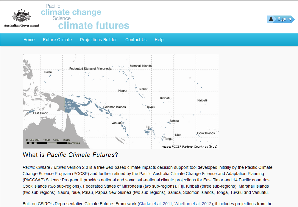 Figure 1 Pacific Climate Futures v2.1 Home page