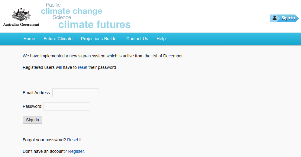 Figure 1. Pacific Climate Futures sign in page