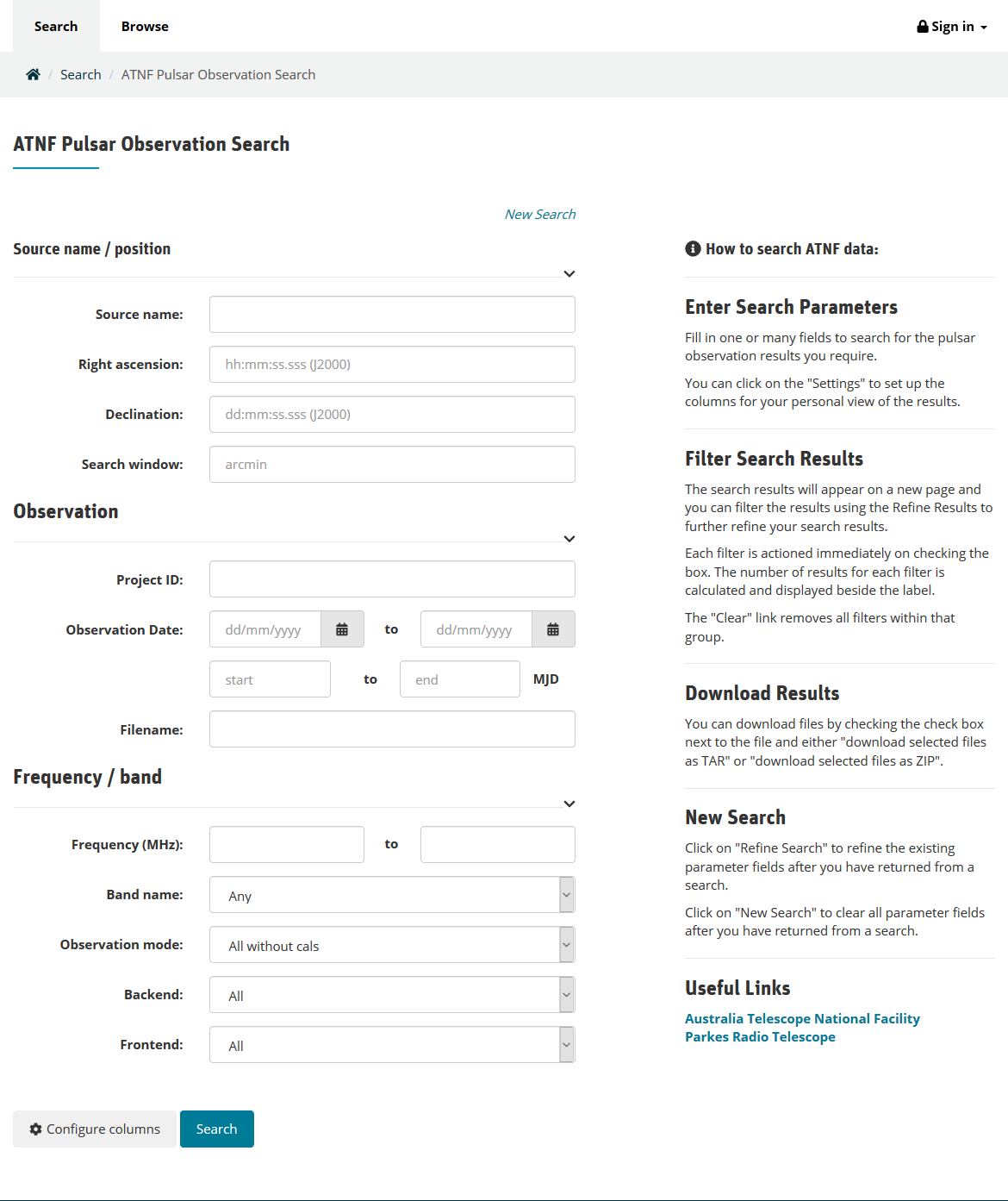 ATNF Pulsar Observation Search - Data Access Portal User Guide